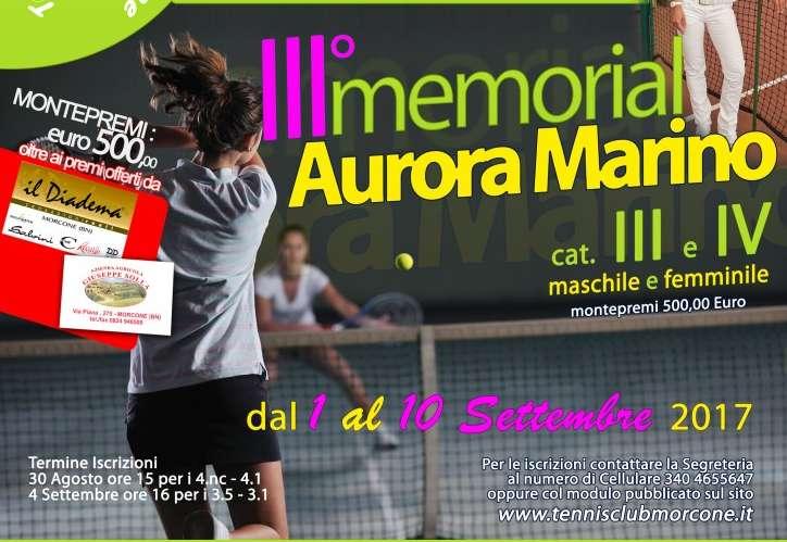 """III Memorial """"Aurora Marino"""". Iscrizioni aperte: si parte il primo settembre"""
