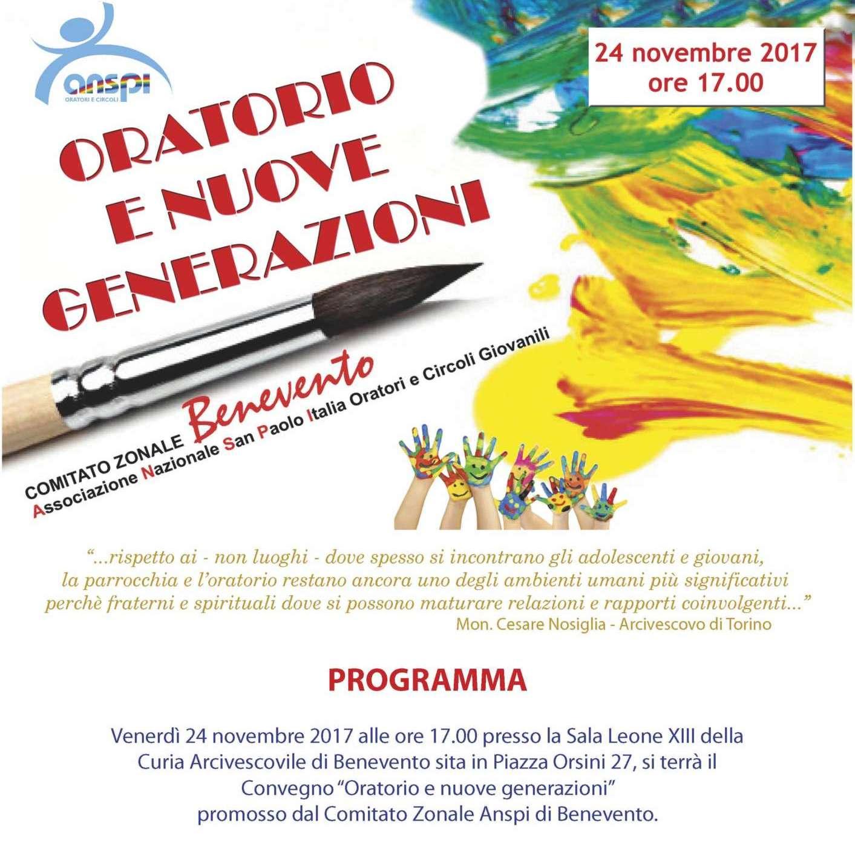 """""""Oratorio e nuove generazioni"""", venerdì 24 novembre il convegno Anspi"""
