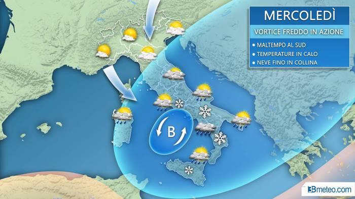 Mercoledì con la neve in Campania, fiocchi a Benevento e Avellino