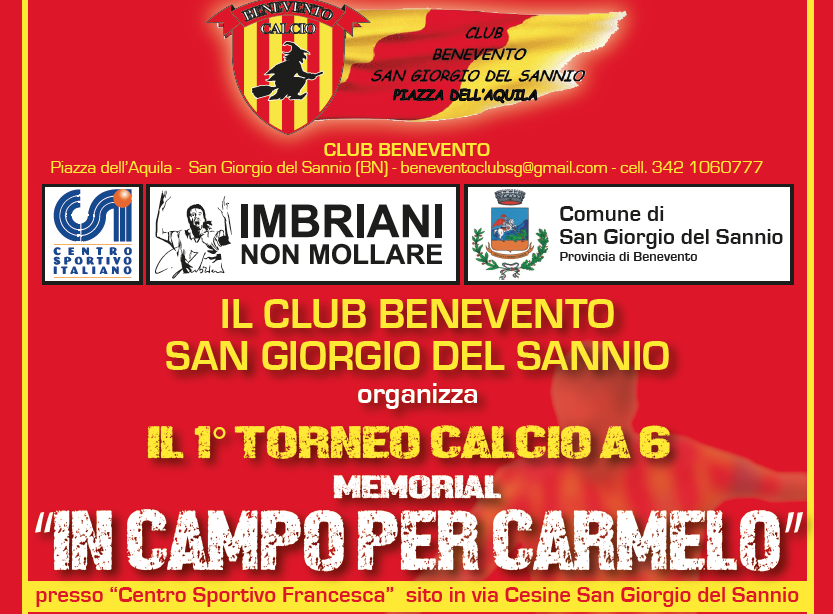 """""""In Campo per Carmelo"""", a San Giorgio del Sannio il memorial di calcio a 6"""
