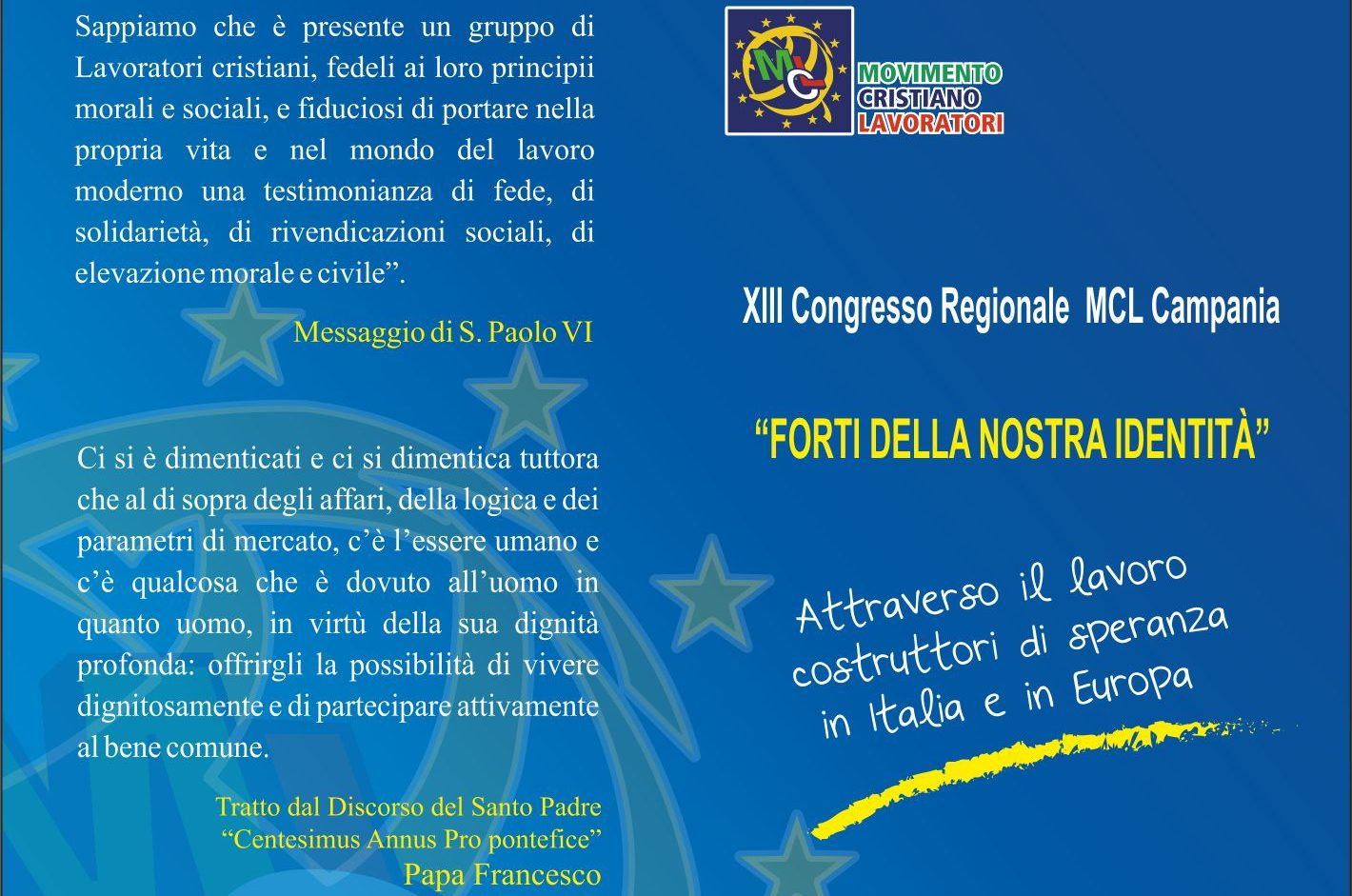 Mcl, al via il congresso regionale a Salerno sul futuro del lavoro e dell'europa