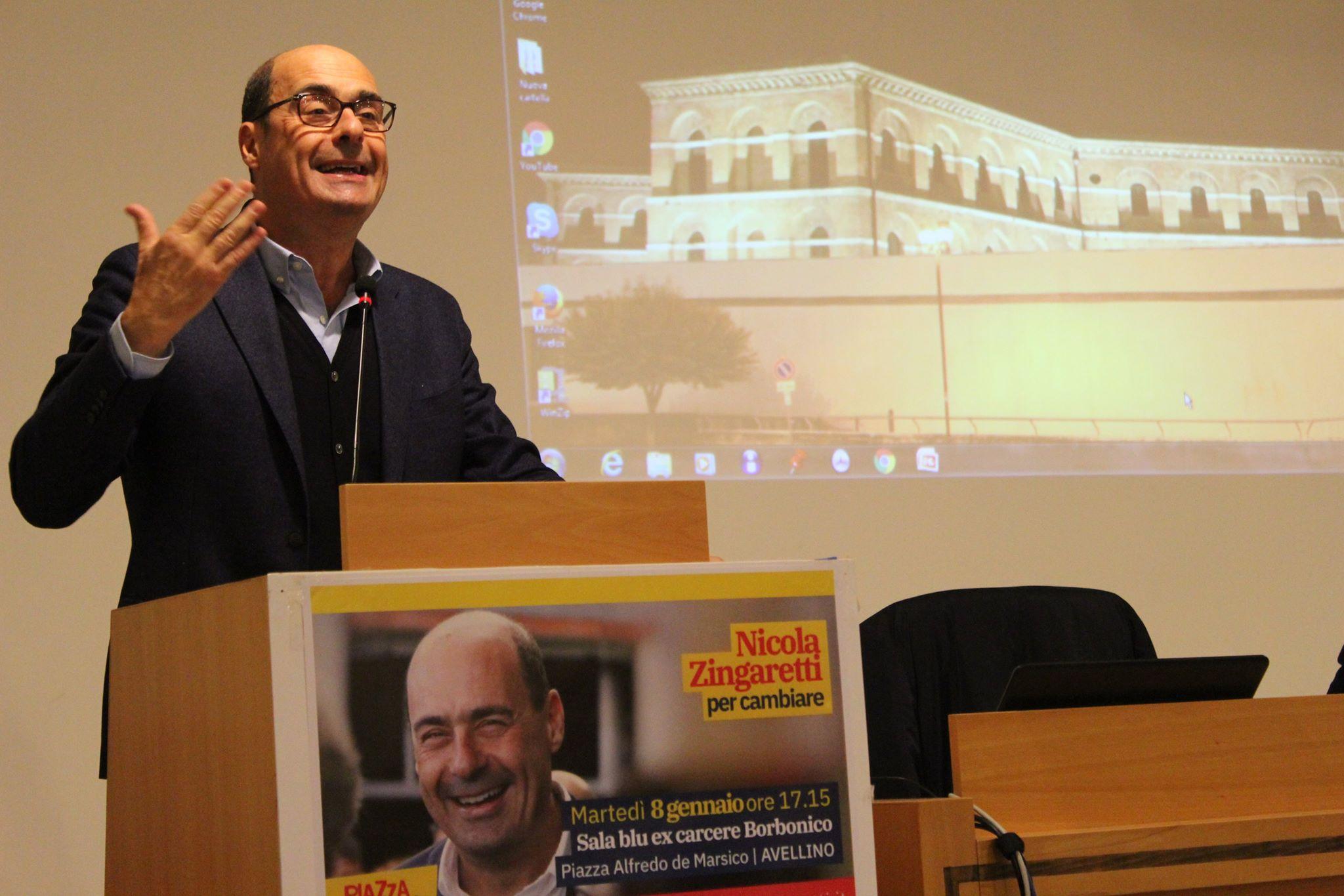 """Zingaretti (PD) ad Avellino: """"Il governo giallo-verde fa tante chiacchiere"""""""