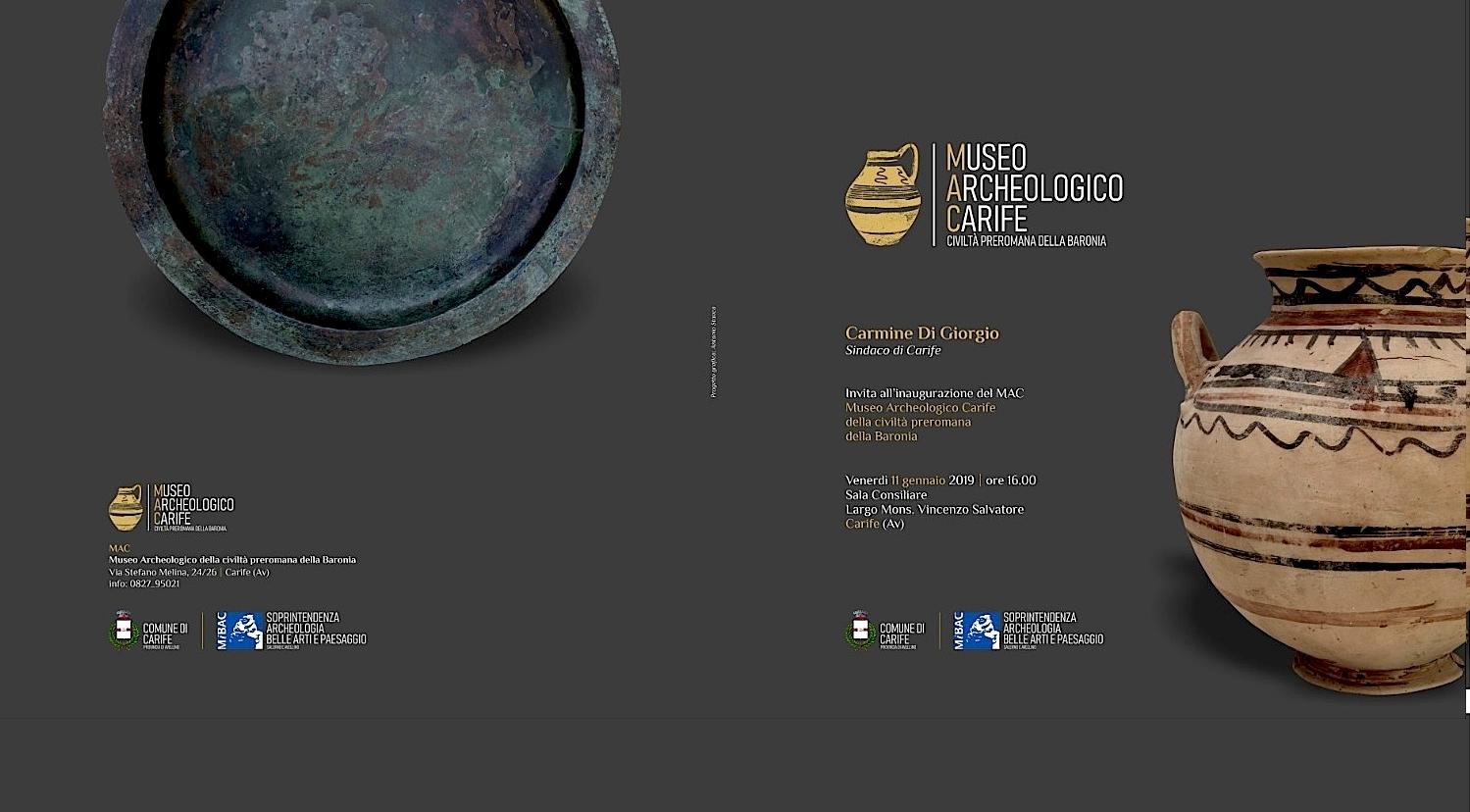 Domani l'inaugurazione del Museo Archeologico di Carife