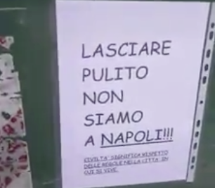 """""""Sputtanapoli"""" senza fine, cartelli choc sui cassonetti di Pordenone"""