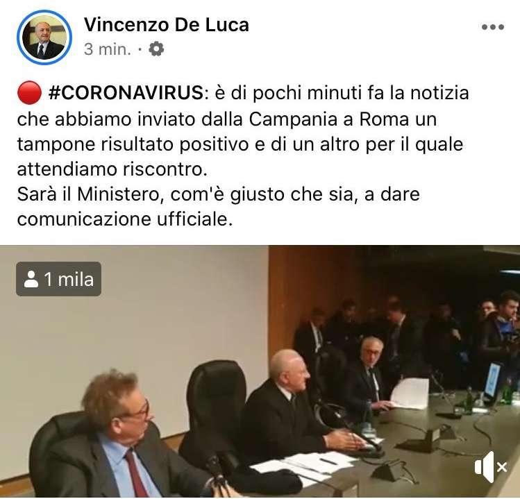 "Coronavirus, De Luca: ""Primo tampone positivo in Campania"""