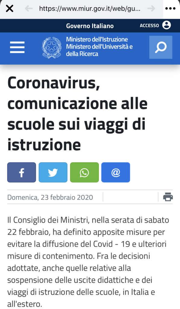 Coronavirus, il Ministero dell'Istruzione vieta le gite scol
