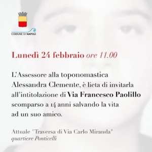 Nasce oggi via Francesco Paolillo:  intitolata al 14enne sco