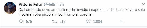 """Coronavirus, il delirio di Feltri: """"Invidio Napoli che ha av"""