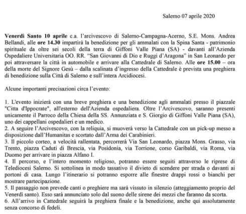 Evento storico a Salerno, venerdì la benedizione con la Spin