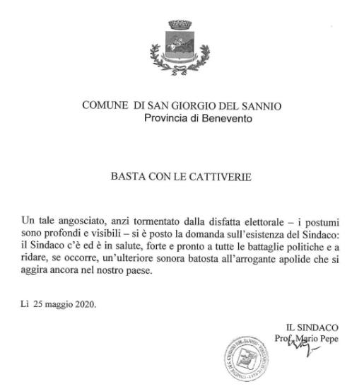"""San Giorgio del Sannio, Ricci attacca Pepe: """"Utilizza sito i"""