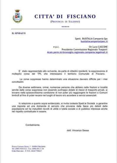 Fisciano, il sindaco Sessa scrive a Busitalia per le corse s