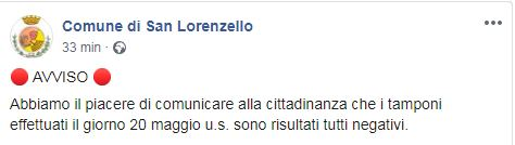 San Lorenzello, tutti negativi i 300 tamponi effettuati