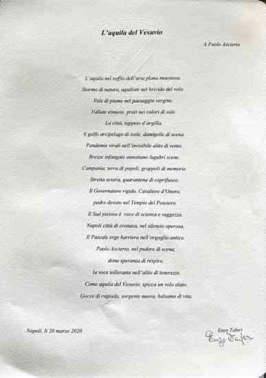 """Una poesia per Paolo Ascierto: """"Sei l'aquila del Vesuvio"""""""