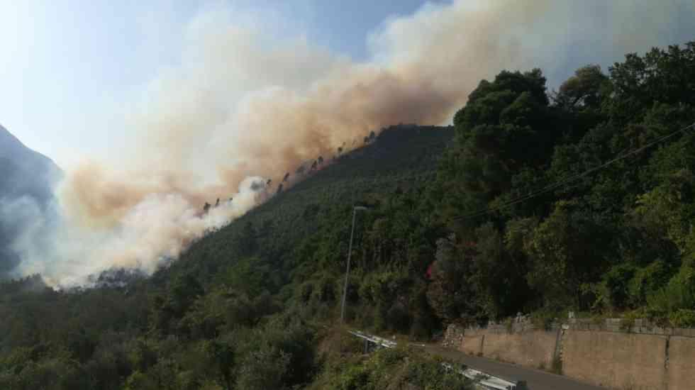 Cerreto Sannita |  vasto incendio sul Monte Cigno |  alta colonna di fumo – VIDEO