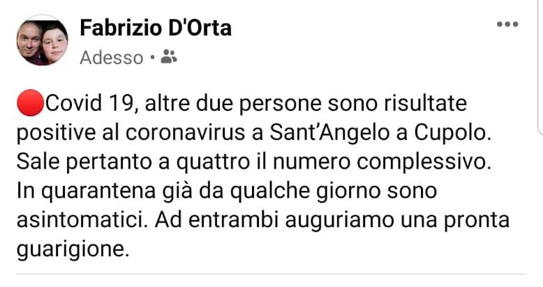 Sant'Angelo a Cupolo, altri due positivi al covid 19: l'annuncio del sindaco