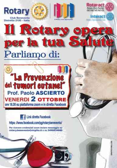 """""""La prevenzione dei tumori cutanei"""": il Rotary si confronta con Paolo Ascierto"""