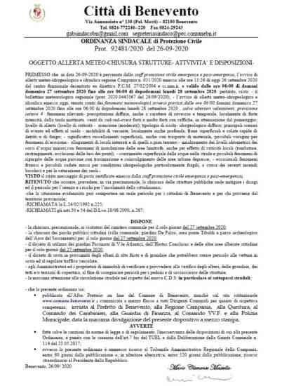 Benevento, allerta meteo prorogata: domani chiusi cimitero e parchi pubblici