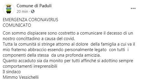 Il Covid continua a mietere vittime nel Sannio: piange Paduli
