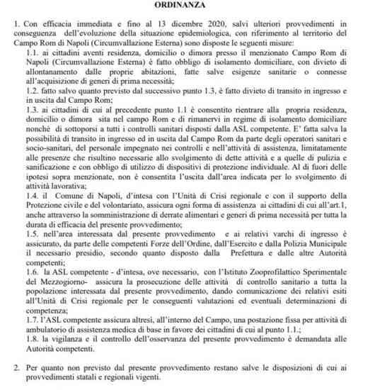 Covid 19, istituita zona rossa per il campo rom di Scampia