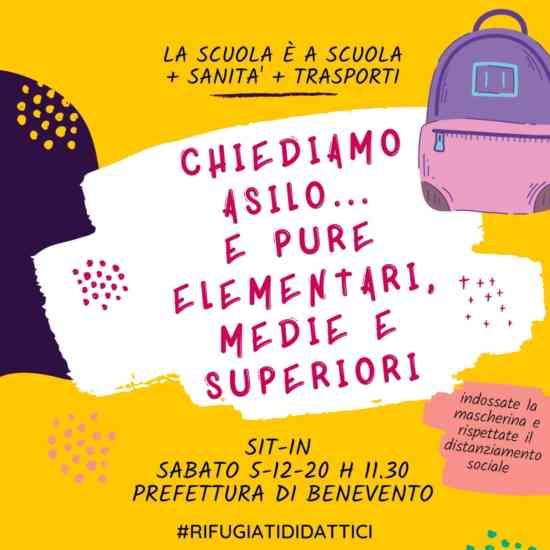 """""""Stop alla didattica a distanza, vogliamo il ritorno a scuola"""": sabato flash mob a Benevento"""