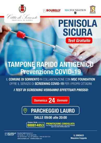 Sorrento, giornata di test antigenici gratuiti per i cittadini anche domenica 24 gennaio