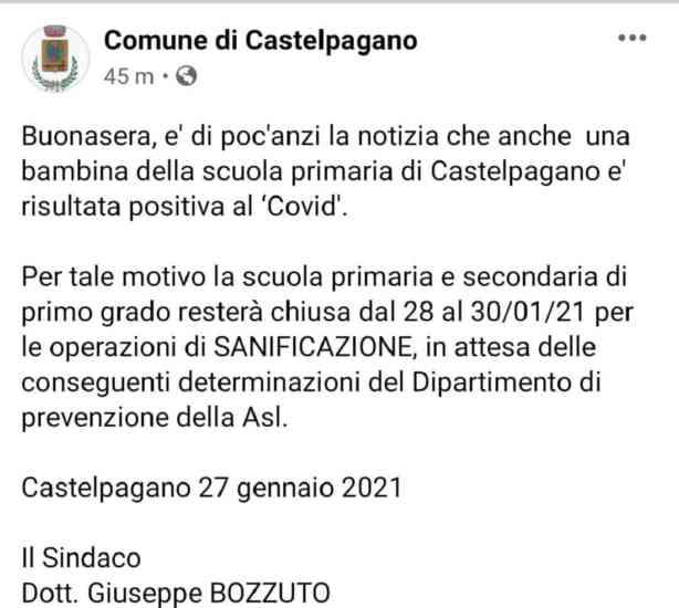 Castelpagano, bambina della primaria positiva al Covid: scuole chiuse