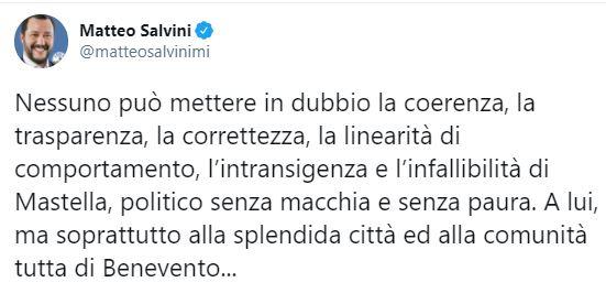 """Salvini twitta contro Mastella: """"Esempio di coerenza, ora cittadinanza onoraria a Beppe Grillo?"""""""