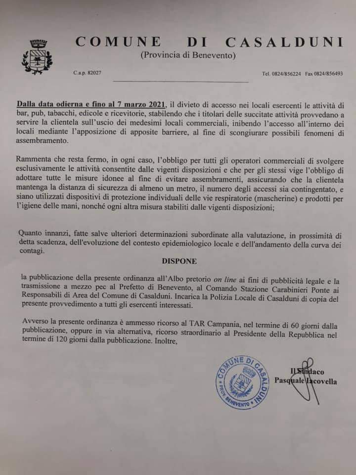 Casalduni, l'ordinanza del sindaco Iacovella: severe misure anti covid fino al 7 marzo